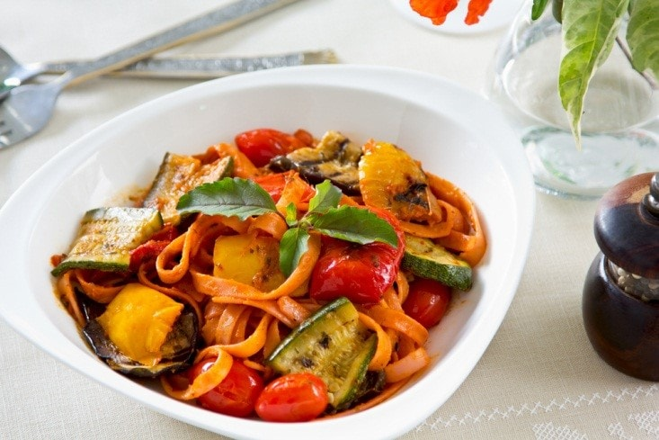 Fettuccini with Roasted Vegetables in Tomato Sauce
