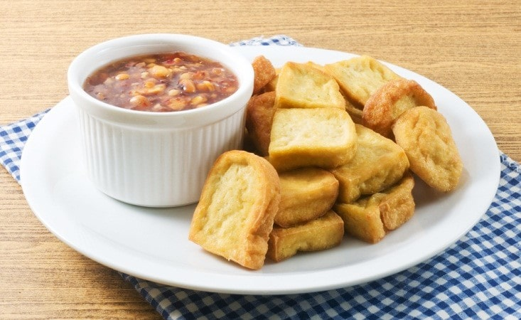 Air Fried Tofu with Peanut Dipping Sauce